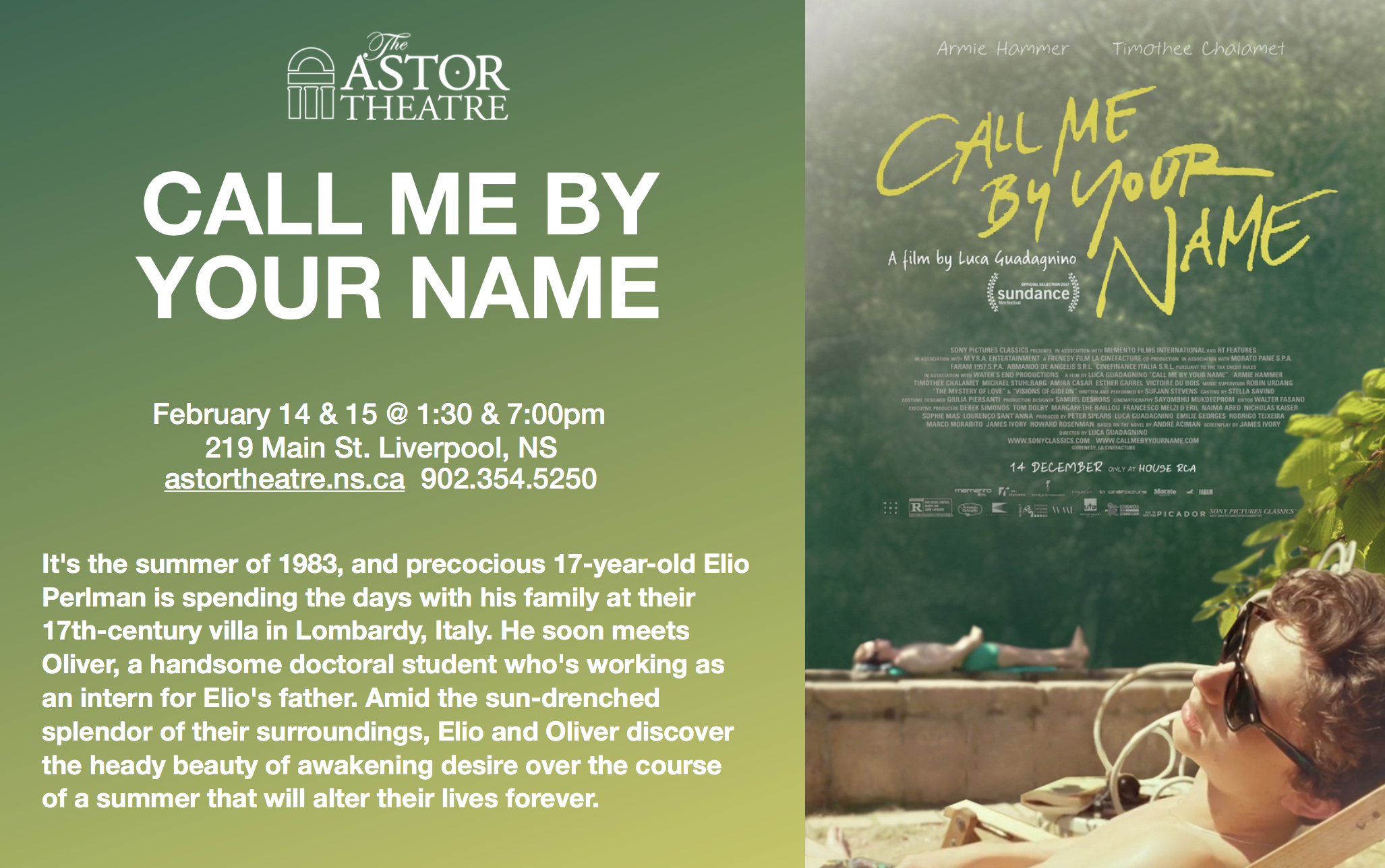 Astor Theatre Call Me By Your Name 130 700pm