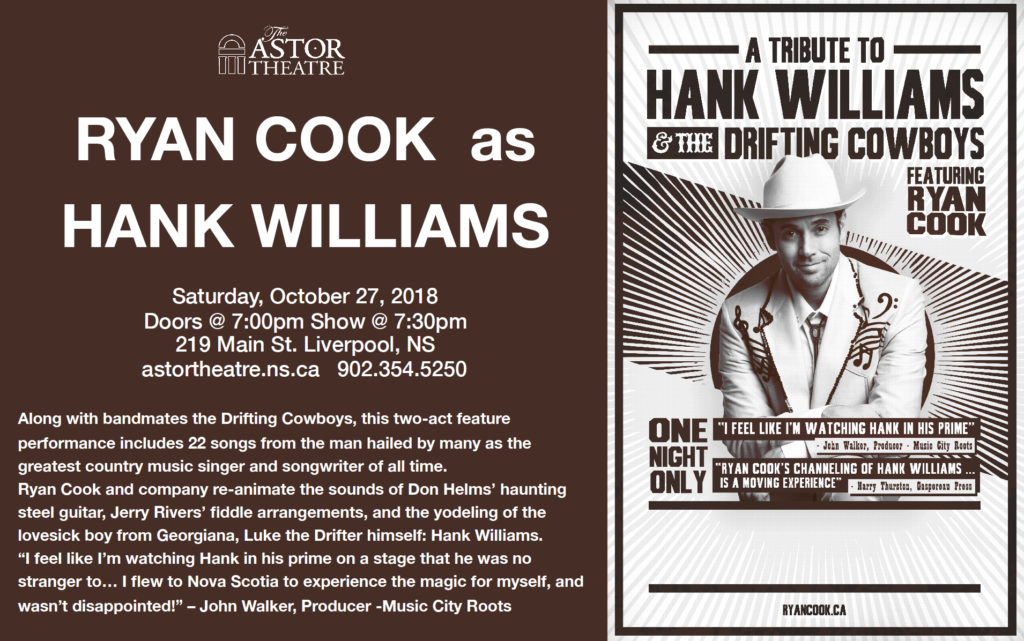 Ryan Cook as Hank Williams @ Astor Theatre