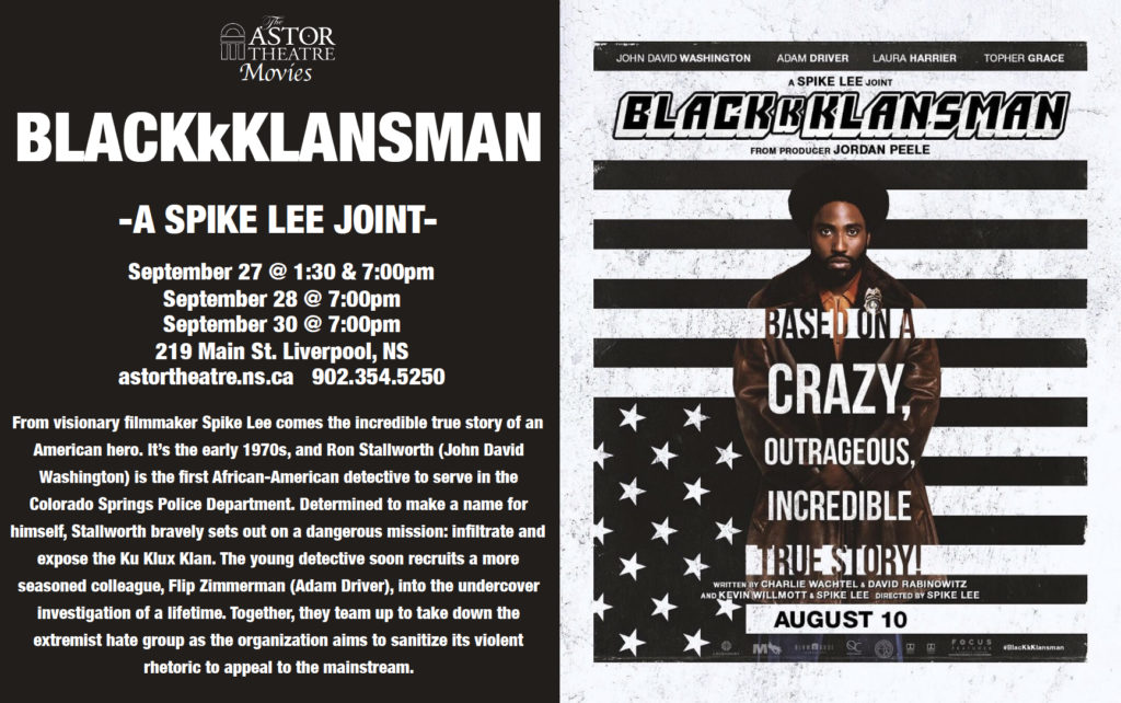 BlackKklansman - Sept.27@1:30&7pm Sept.28@7pm Sept.30@7pm @ Astor Theatre