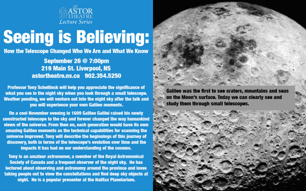 Seeing Is Believing - Astronomy Lecture - Sept.26 @7pm @ Astor Theatre