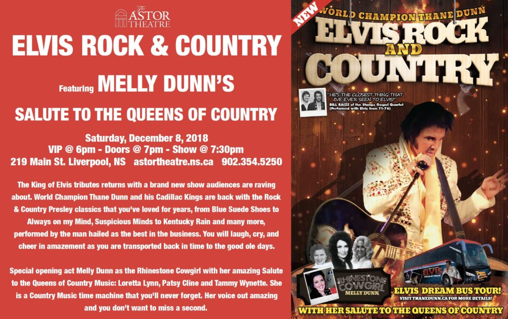 Thane Dunn's Elvis Rock & Country with opening act The Rhinestone Cowgirl @ Astor Theatre