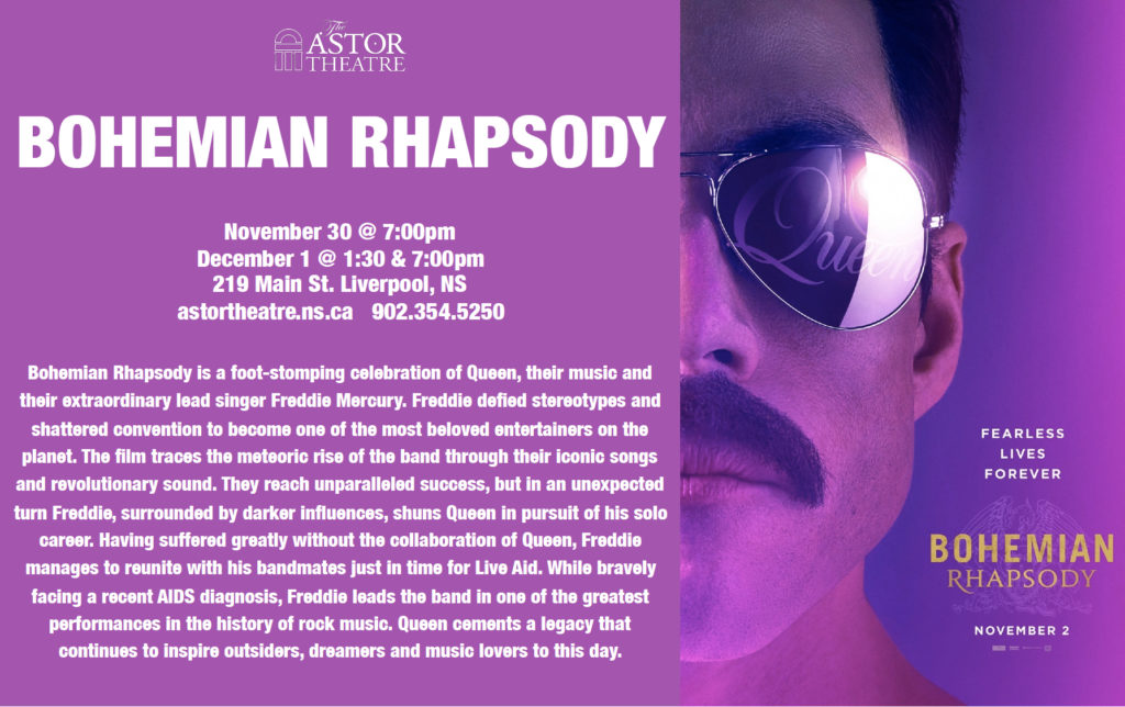 Bohemian Rhapsody - Nov.30 @ 7pm, Dec.1 @ 1:30&7pm @ Astor Theatre