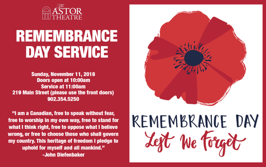 Remembrance Day Service - 11am @ Astor Theatre