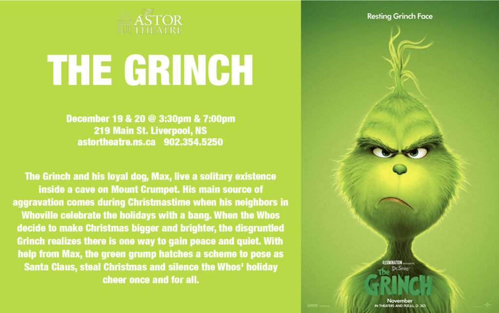 The Grinch - Dec 19 & 20 @ 3:30&7pm @ Astor Theatre