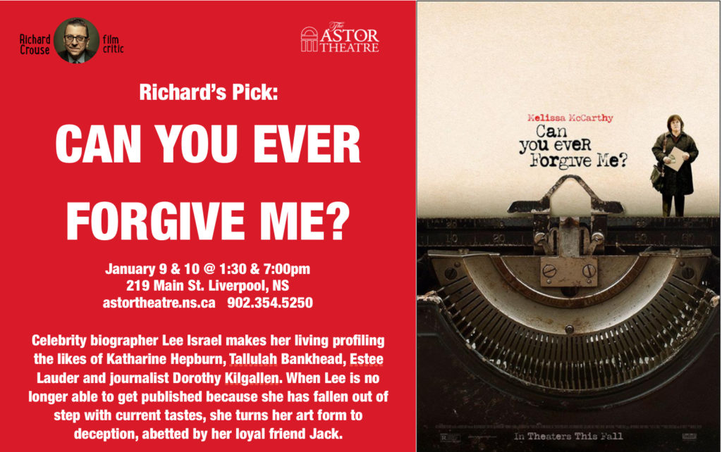 Can You Ever Forgive Me? - Jan.9&10 @ 1:30&7pm @ Astor Theatre