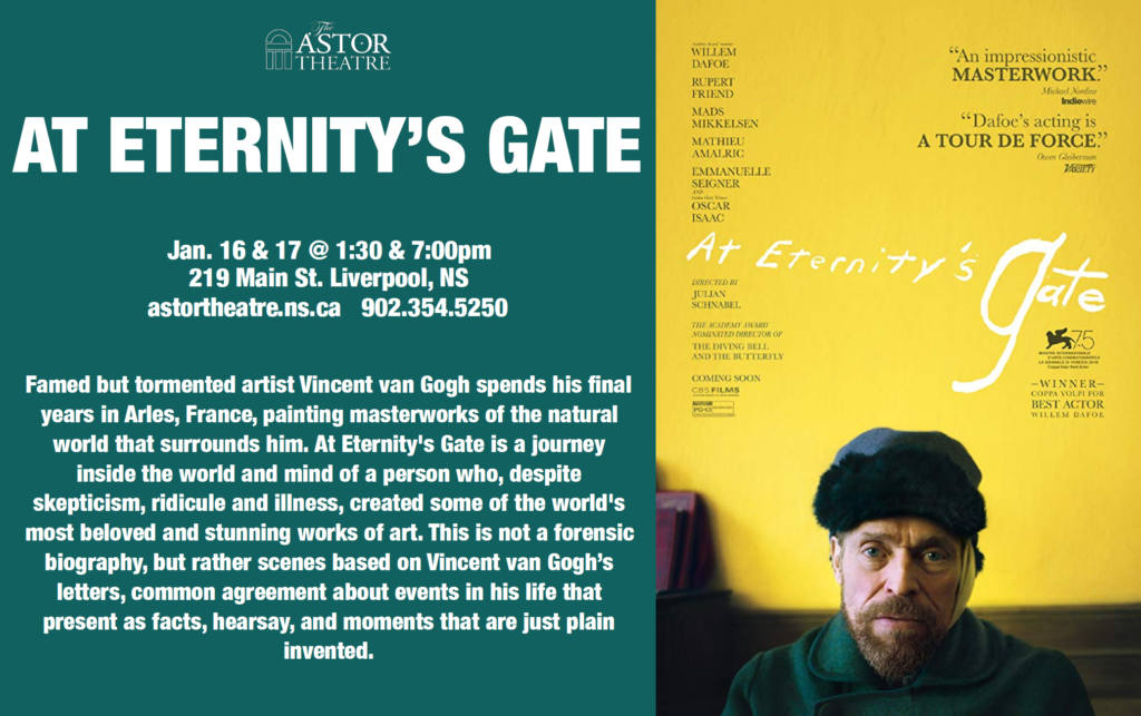At Eternity's Gate - Jan.16&17 @ 1:30&7pm @ Astor Theatre
