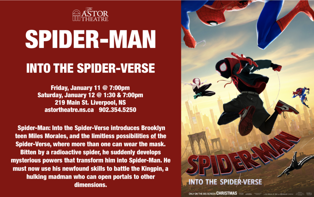 Spider-Man: Into the Spider-Verse - Jan.11 @ 7pm, Jan.12 @ 1:30&7pm @ Astor Theatre