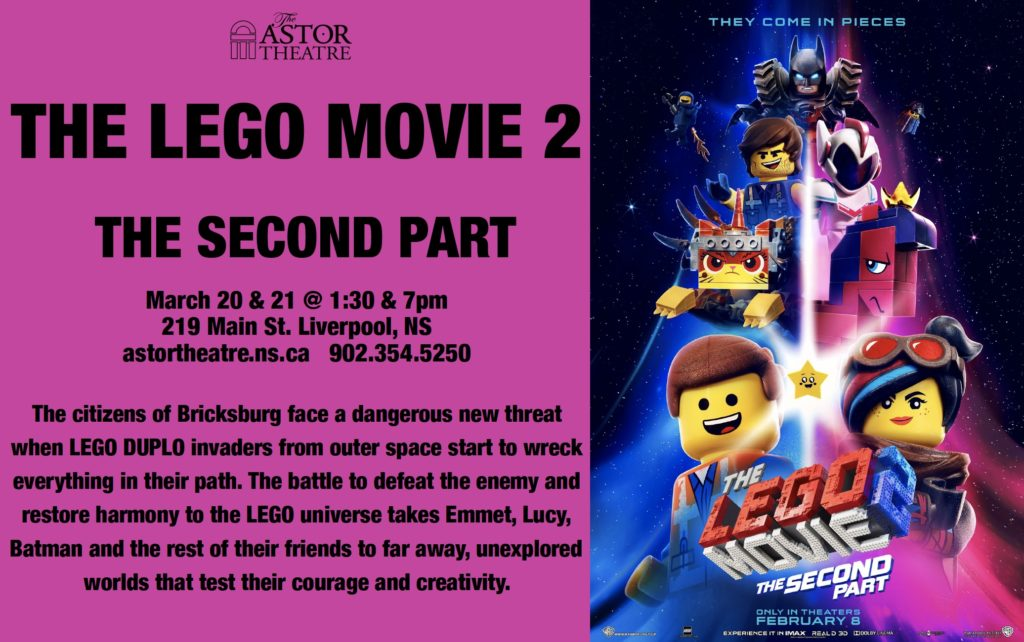 The LEGO Movie 2 - The Second Part - Mar.20&21 @ 1:30&7pm @ Astor Theatre