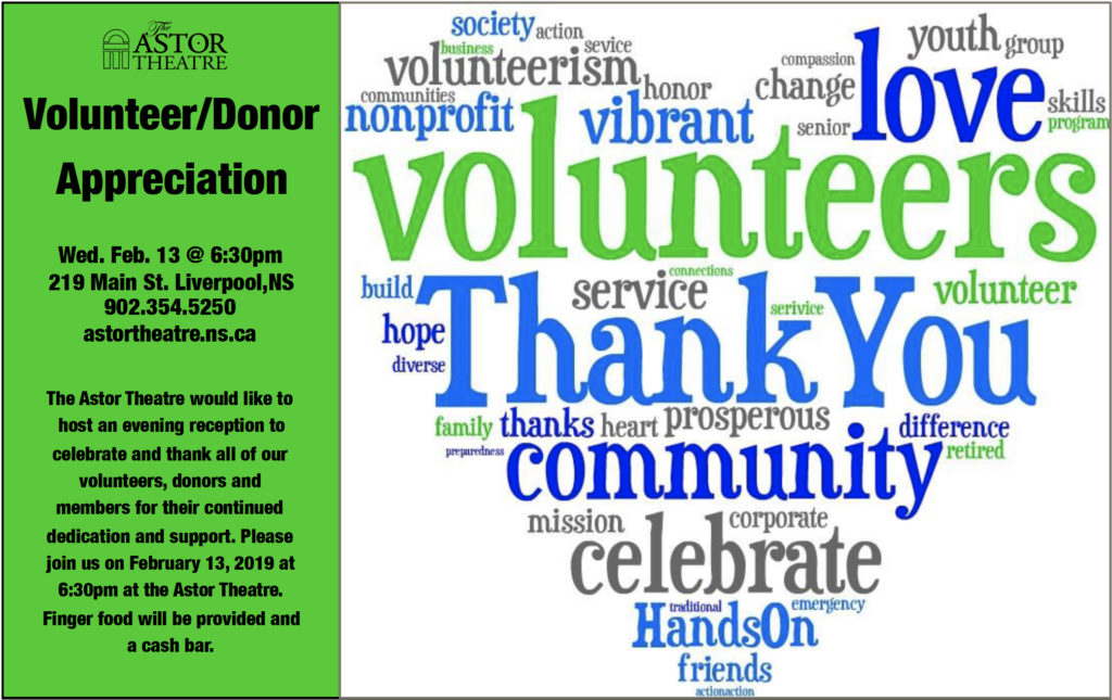 Volunteer & Donor Appreciation Soirée - 6:30pm @ Astor Theatre
