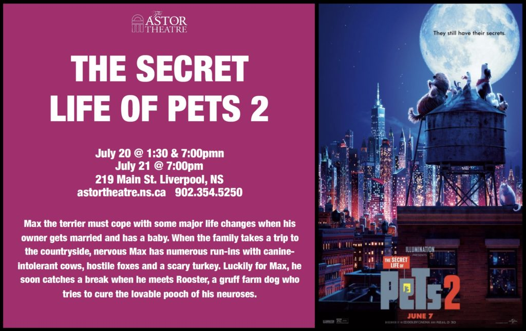 The Secret Life of Pets 2 - July 20 @ 1:30 & 7pm, July 21 @ 7pm @ Astor Theatre