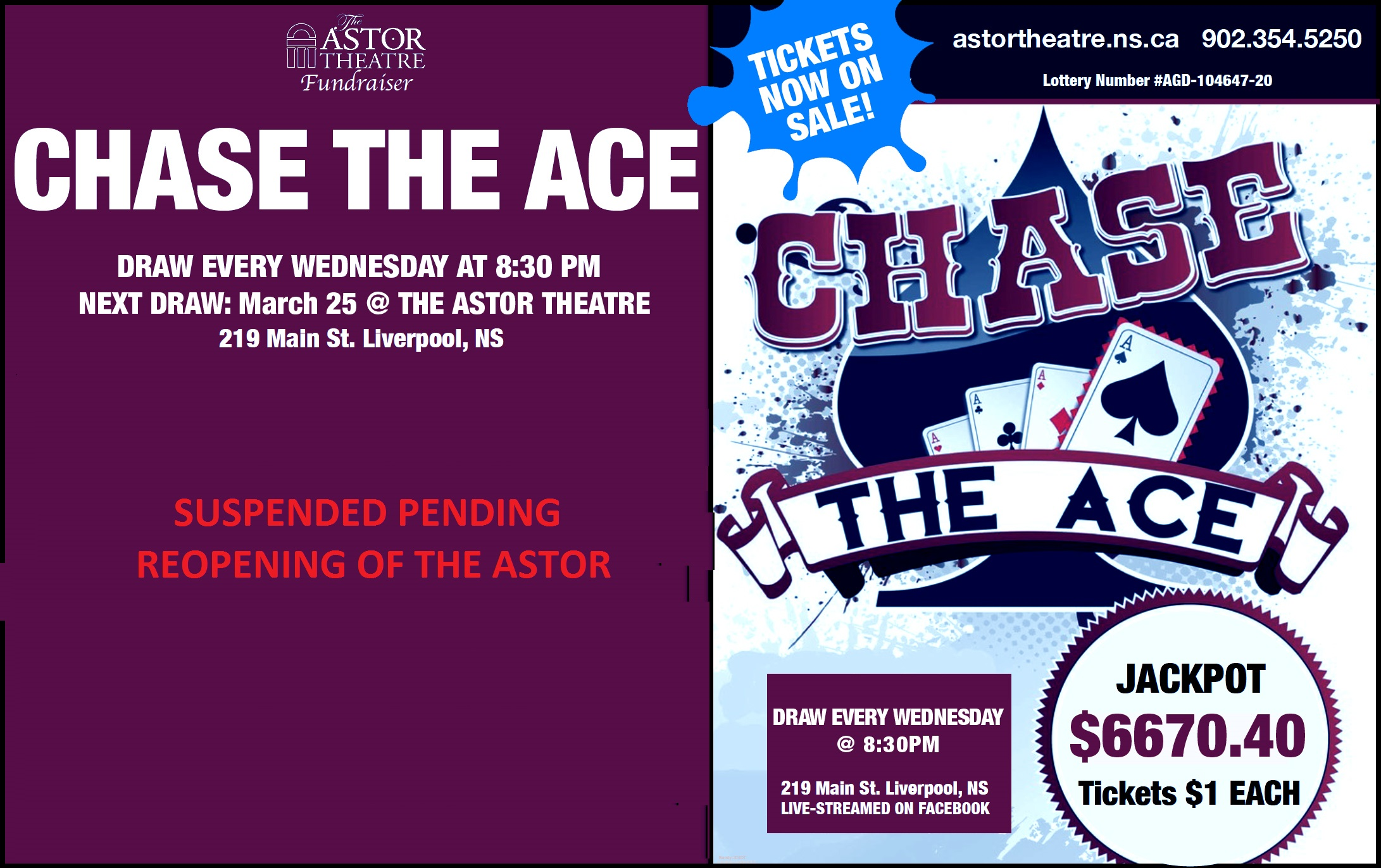 POSTPONED PENDING REOPENING OF ASTOR - Chase The Ace (Round 4) @ Astor Theatre(lobby)