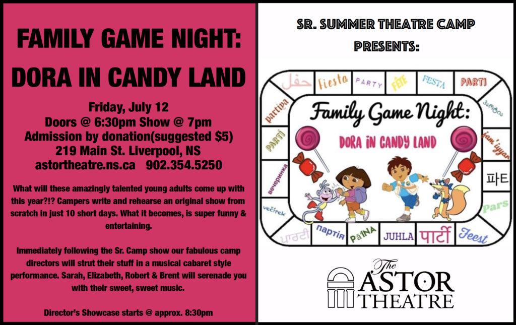 Sr.Camp presents: Family Game Night - Dora in Candy Land @ Astor Theatre