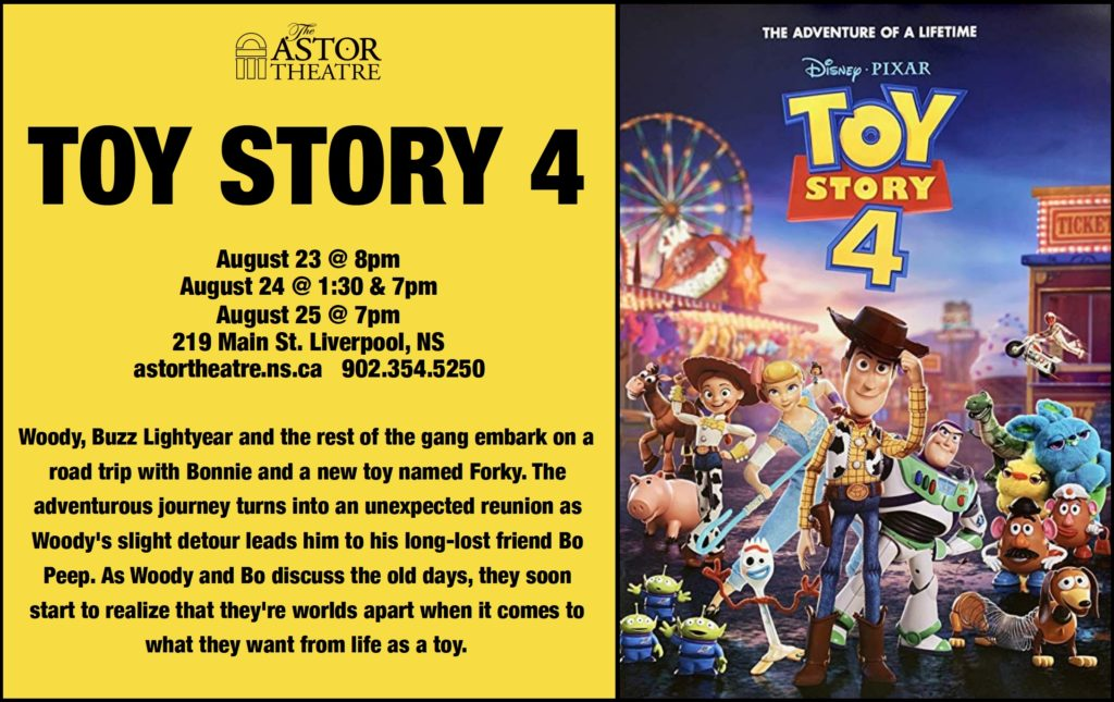 Toy Story 4 - Aug.23 @ 8pm, Aug.24 @ 1:30 & 7pm, Aug.25 @ 7pm @ Astor Theatre