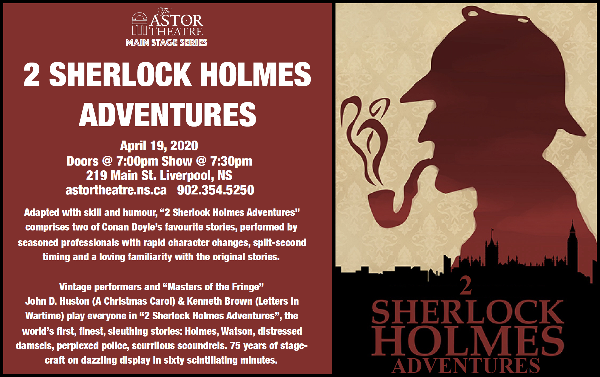 2 Sherlock Holmes Adventures ( Main Stage Series) @ Astor Theatre