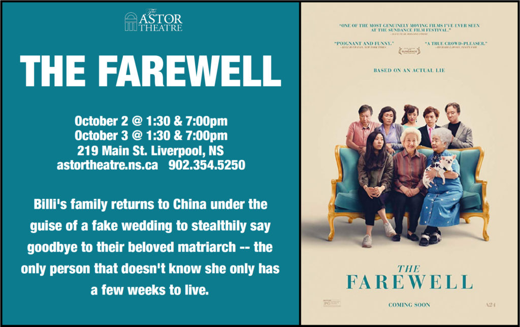 The Farewell-Oct.2@1:30&7pm, Oct.3@1:30&7pm @ Astor Theatre
