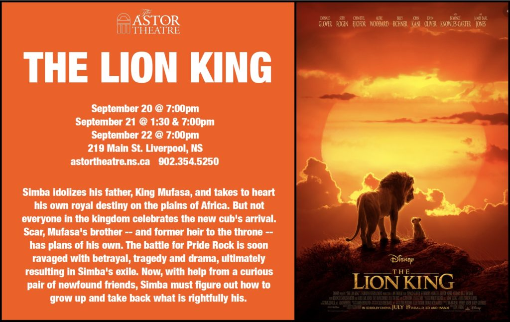 The Lion King - Sept.20@7pm, Sept.21@1:30&7pm, Sept.22@7pm @ Astor Theatre