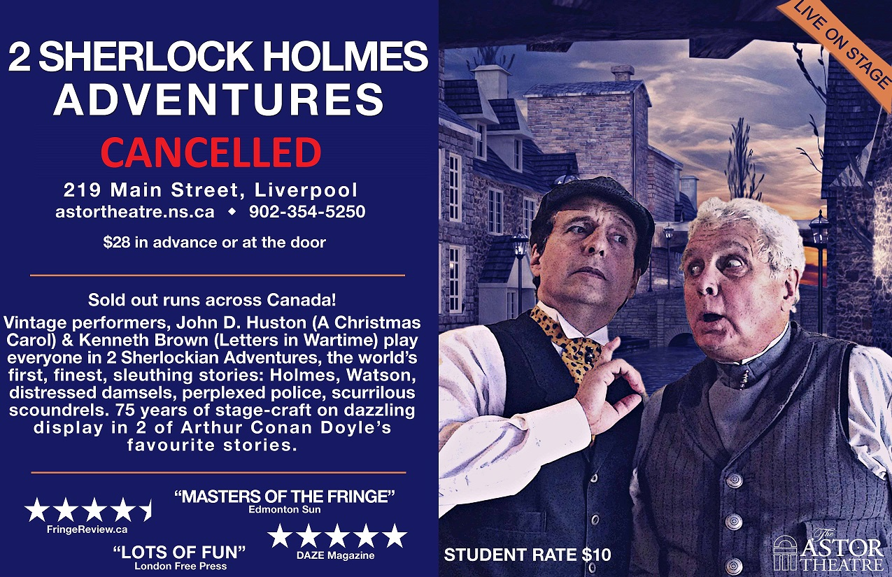 CANCELLED - 2 Sherlock Holmes Adventures ( Main Stage Series) @ Astor Theatre