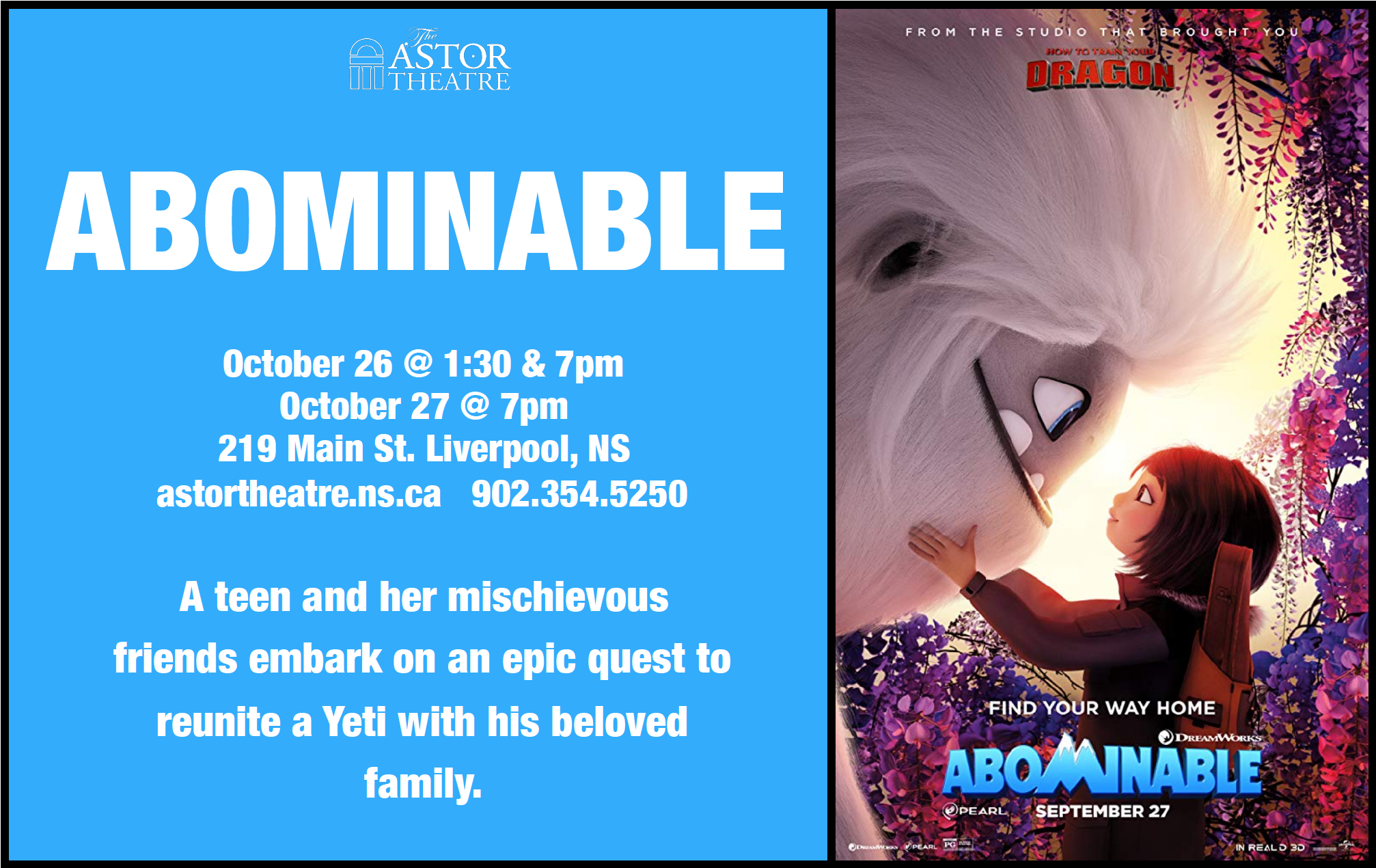 Abominable - Oct.26 @ 1:30 & 7pm, Oct.27 @ 7pm @ Astor Theatre