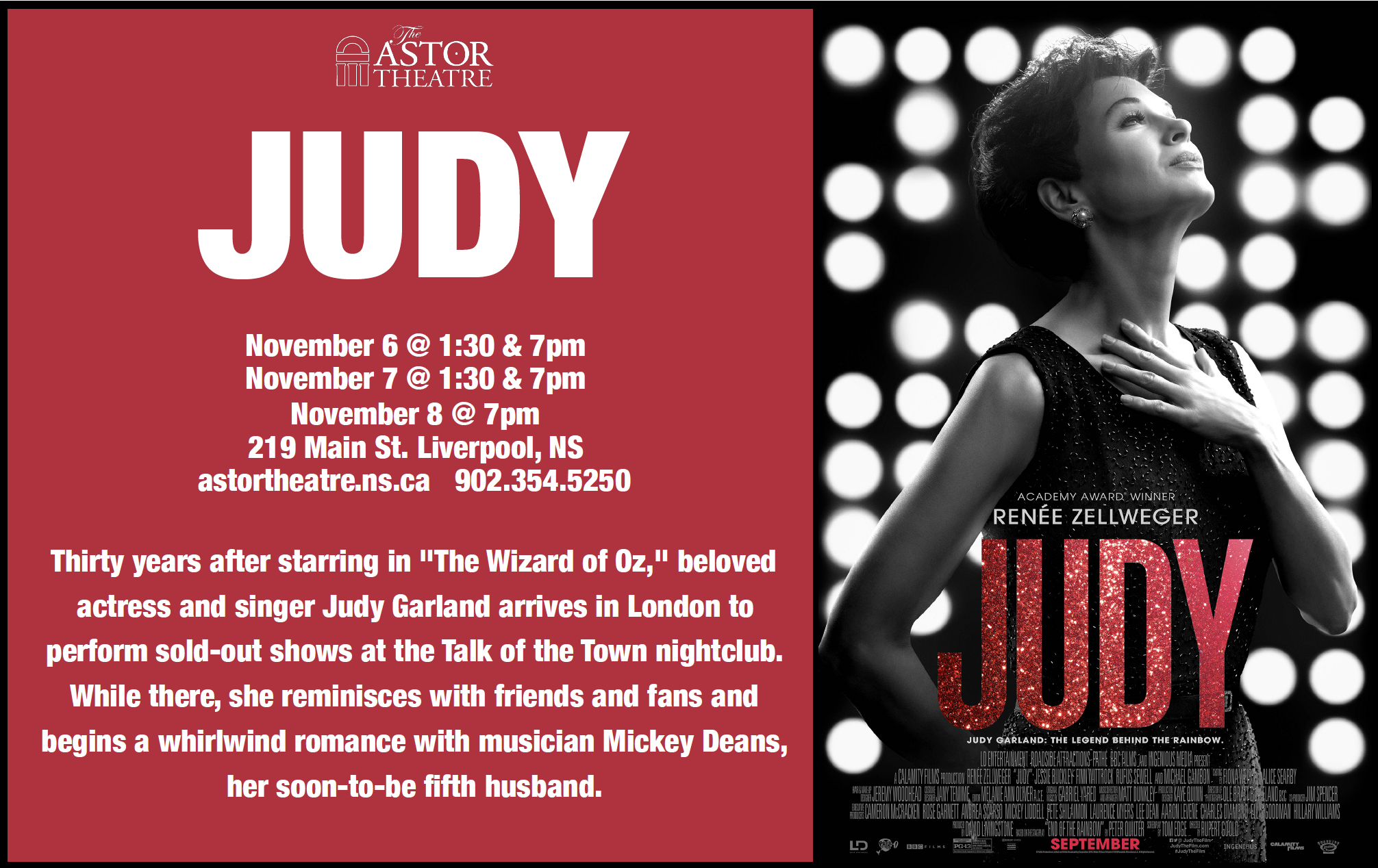 Judy Wed, Thurs, Fri, Sun@7pm Wed, Thurs, Sat@1:30pm