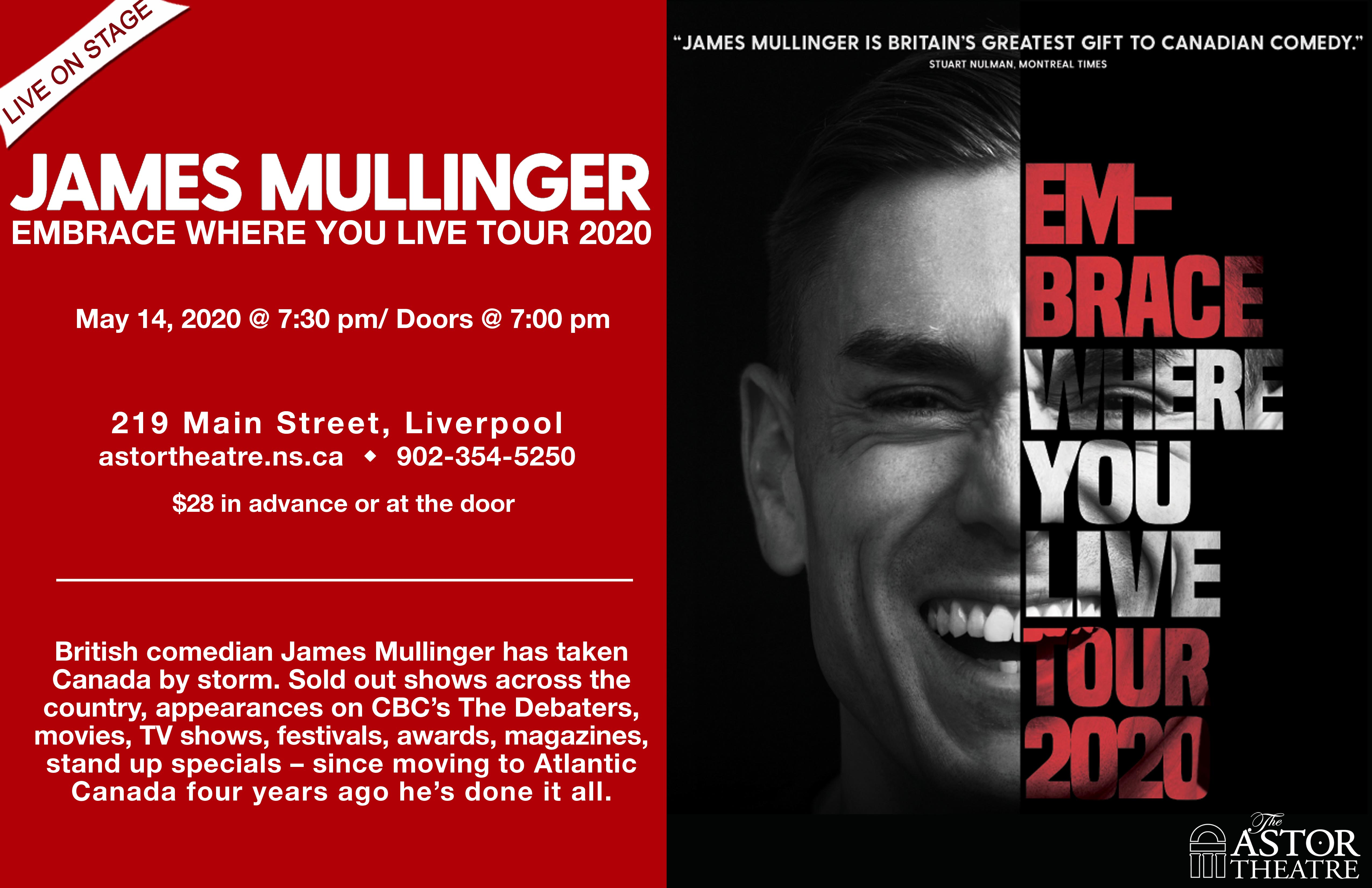 JAMES MULLINGER - EMBRACE WHERE YOU LIVE @ Astor Theatre
