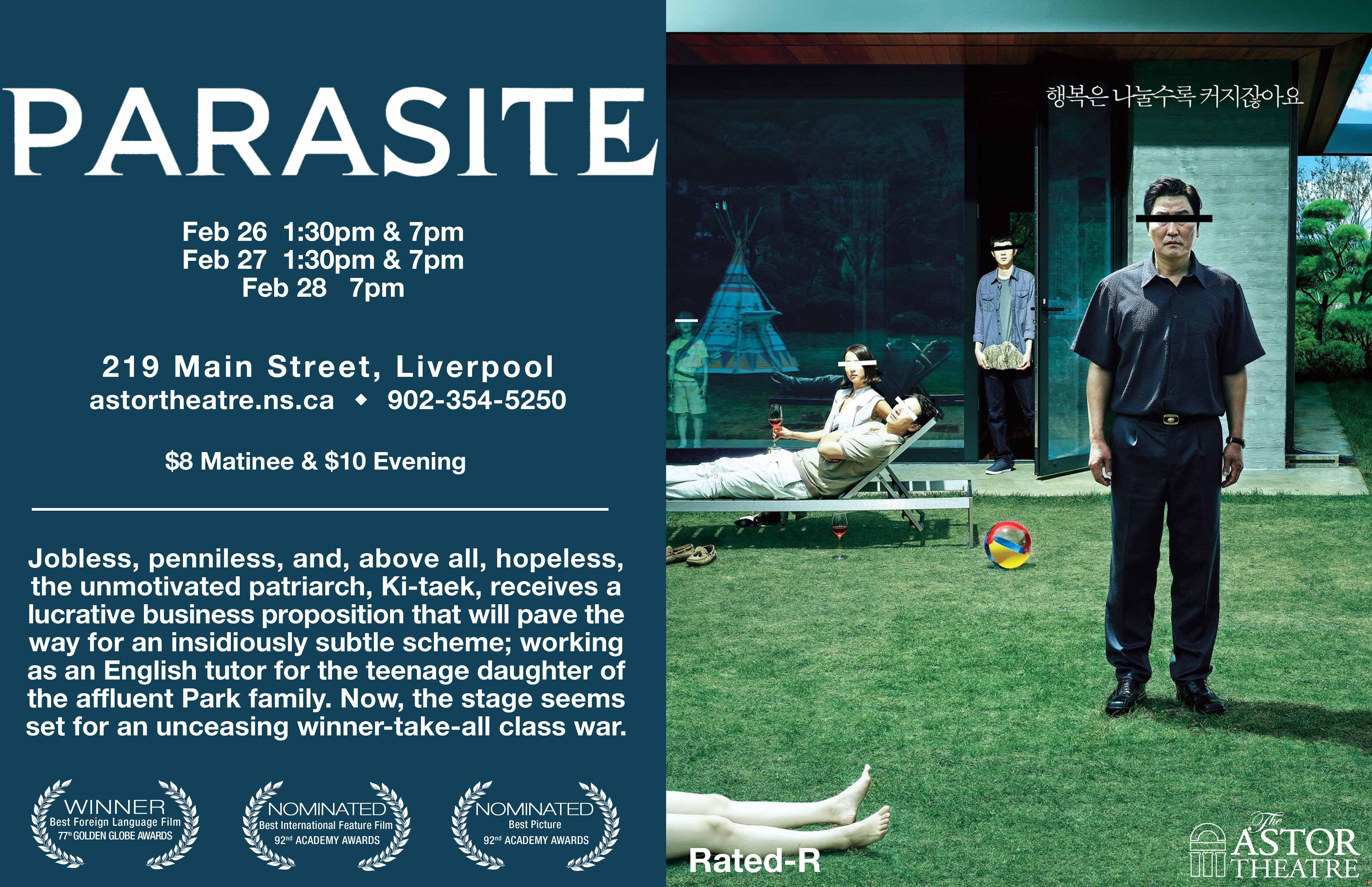 Parasite 1:30pm & 7pm @ Astor Theatre