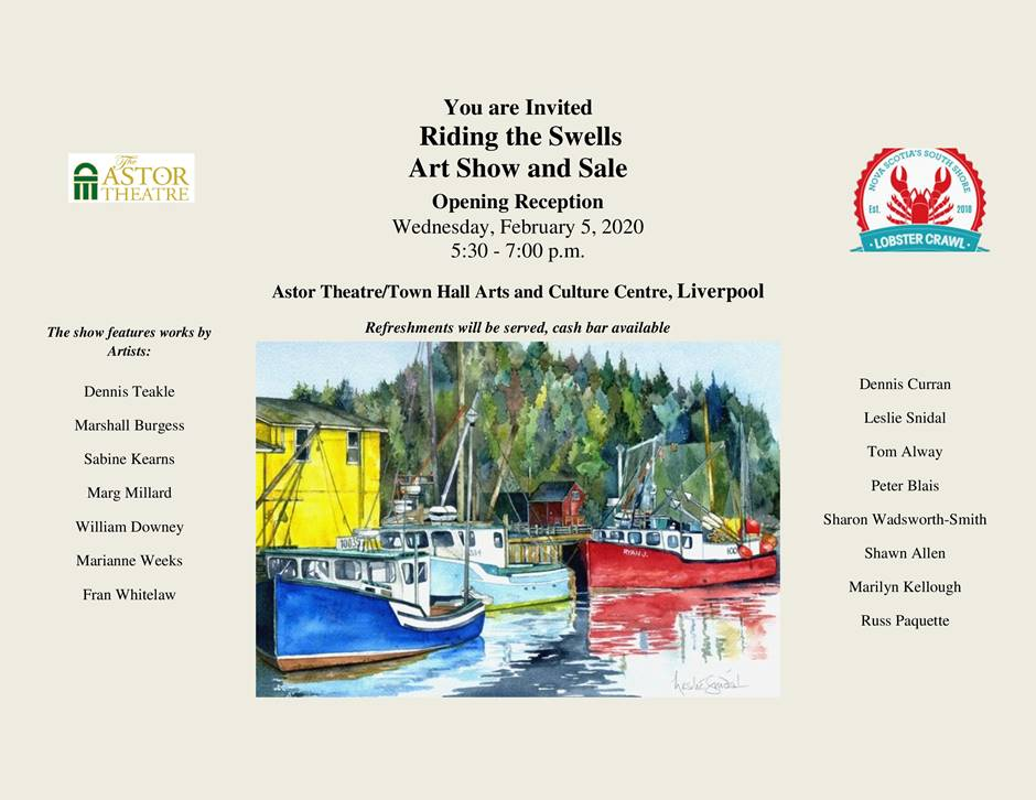 OPENING RECEPTION  - Ride the Swells Art Show & Sale @ Town Hall Arts & Culture Centre