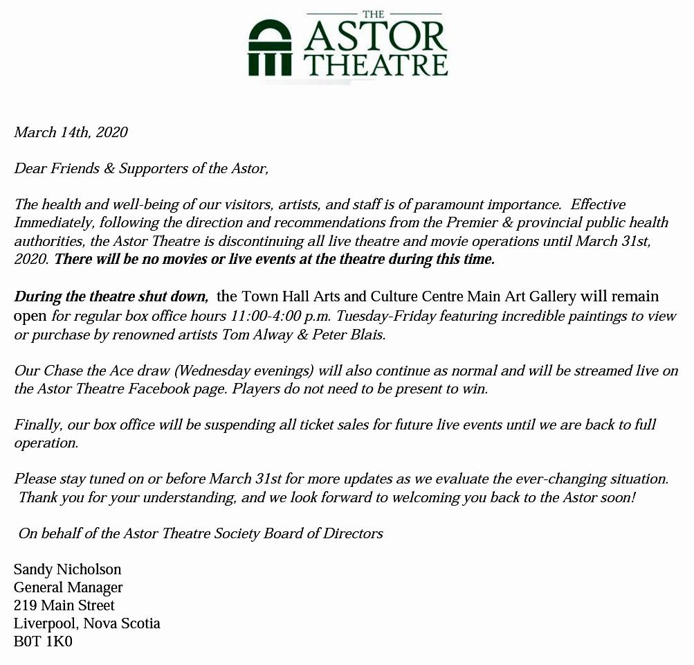 ASTOR THEATRE CLOSURE UNTIL MARCH 31st @ Astor Theatre